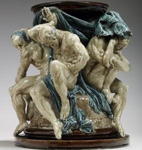 Carrier-Belleuse, Rodin, Piédestal les Titans, 1878, (édition vers 1902), céramique émaillée, Paris, Musée Rodin