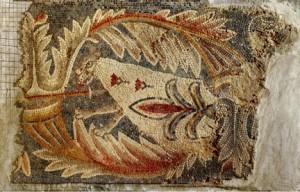 Mosaïque provenant de l'église de Ma'in, Jordanie, vers 719-720, 60 x 90 cm, Musée Archéologique de Madaba, Jordanie, d'après Helen Evans (éd.), Byzantium and Islam, p. 119.