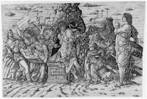 Andra Mantegna, Mise au tombeau, vers 1490, Paris, BNF