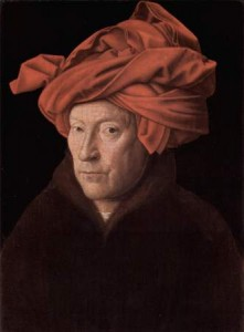 Jan van Eyck, L'Homme au turban rouge, 1433, Londres,National Gallery