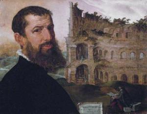 Maerten van Heemskerck, Autoportrait avec le Colisée, 1553, Cambridge