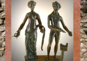 Sirona, déesse gauloise, et Apollon, bronze, IIe siècle apjc, Gaule Romaine, Dijon, Bourgogne, France