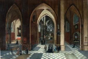 Hendrick Van Steenwick le Vieux (atelier) - Vue de l'intérieur d'une église gothique en Hollande, après 1550, Libourne