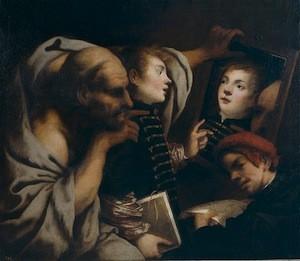 Pietro della Vecchia, Socrate et deux étudiants, XVIIe siècle, Madrid, Prado