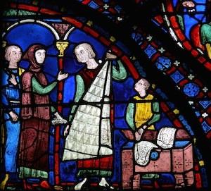 Chartres-vitrail-de-l-histoire-de-saint-jacques-le-majeur-fourreurs