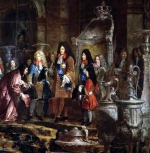Claude‑Guy Hallé, Réparation faite à Louis XIV par le doge de Gênes, le 15 mai 1685 (détail), 1710. Versailles