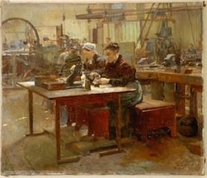 Après Jules Adler, Un Atelier de taille de faux diamants au Pré-Saint-Gervais, 1893, Musée de Bayeux (Copie)