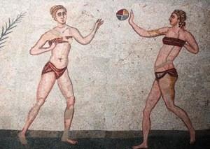 "Mosaïque romaine, ""Femmes en bikini"", Sicile, Villa Romana del Casale"
