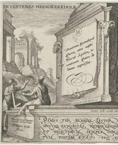 "Philippe Galle d'après Maarten van Heemskerck, ""Inventiones Heemskerkianae ex utroque Testamento"", détail, 1569, gravure au burin, 142x200 mm, Amsterdam, Rijksmuseum."
