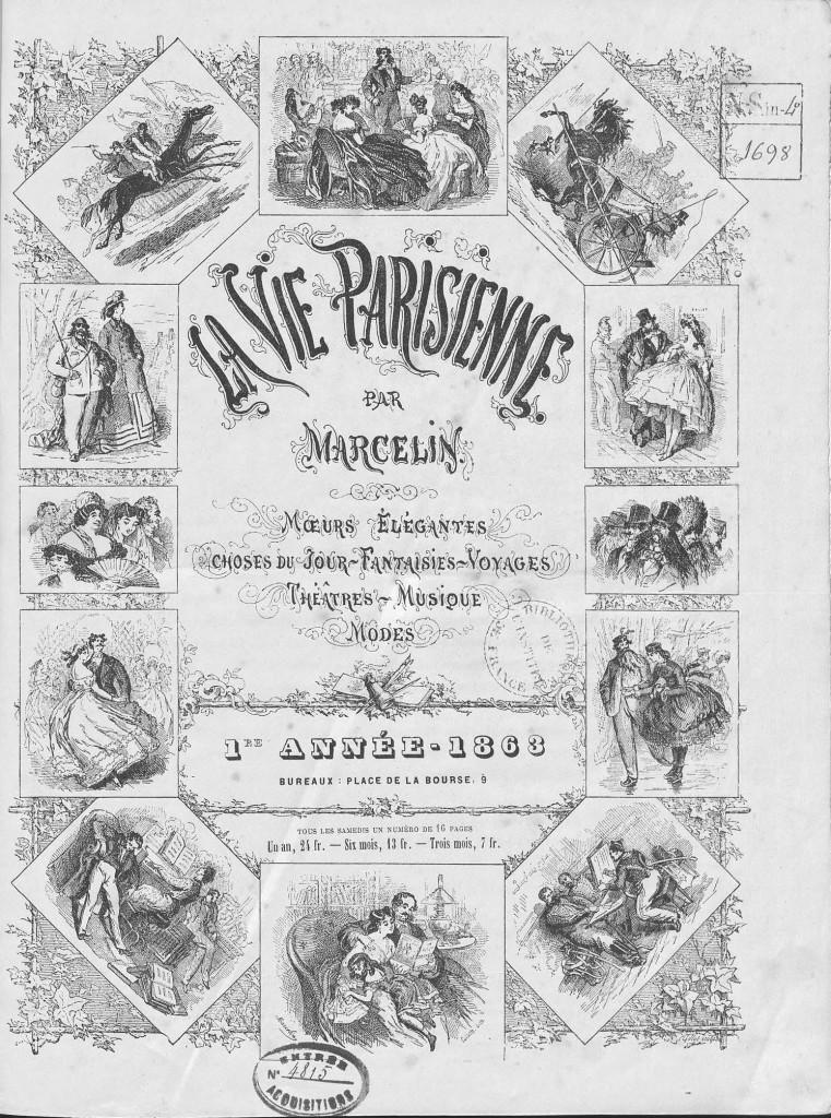 Couverture de la revue La Vie Parisienne, n°1, 1863, Paris, bibliothèque de l'Institut de France (détail)