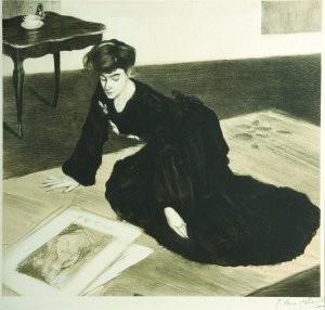 """H. Caro-Delvaille, """"La Femme aux estampes"""", lithographie, 45,3x42 cm, 1902, coll. privée"""