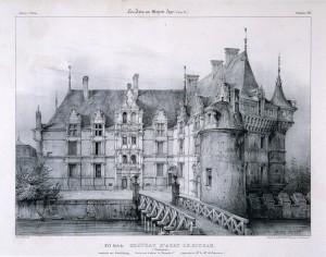 Fig. 3. V. Petit, Château d'Azay-le- Rideau (Touraine), 1846, lithogravure, parue dans A. de Sommerand, Les Arts au Moyen Âge, Tome 5, planche IX, Paris, Musée des Thermes et de l'Hôtel de Cluny.