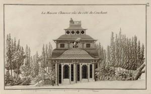 Fig. 8. G.-L. Le Rouge, La maison chinoise vue du côté du couchant, lithographie, 29 x 47,8 cm, 1785, parue dans Jardins anglo-chinois, treizième cahier, planche 14, Paris, Le Rouge.
