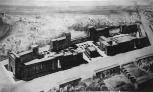 Fig. 1. Perspective de la construction de la « Cité des artistes », projet approuvé par le Conseil de la ville de Moscou en octobre 1934, Album de l'Union des artistes, © Archives du MOSSKh.