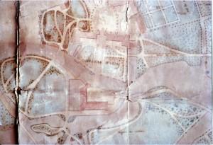 Fig. 1. Adolphe Rivoalen, Plan topographique des jardins et du parc du château d'Azay-le-Rideau (détail), 1855, encre et lavis sur papier vélin, Azay-le- Rideau, château © G. Guilpain.