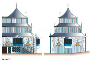 Fig. 11. O. Prisset, restitution des façades sud et est du pavillon chinois d'Azay-le-Rideau.