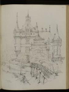 Fig. 5. N. W. Dechemant, Exterior of Azay-le-Rideau ̧ 1852, mine noire sur papier, 34,29 x 26,67 cm, Londres, Victoria & Albert Museum © V&A Museum.