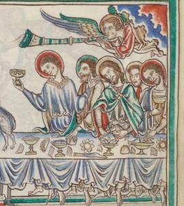 Apocalypse glosée, français 403, f°35v, manuscrit, vers 1250 (détail)
